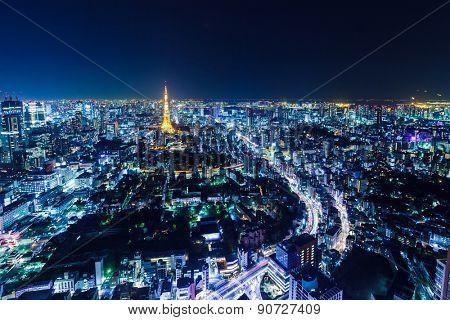 Tokyo in Japan at night