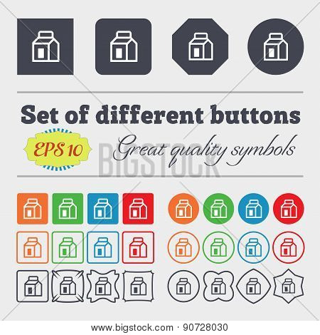 Milk, Juice, Beverages, Carton Package  Icon Sign Big Set Of Colorful, Diverse, High-quality Buttons