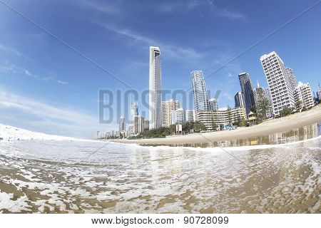 Gold Coast Surfers Paradise famous beach and ocean tide