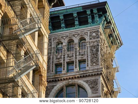 Architectural Ornament And Copper Cornice, Building Facade, Soho, New York