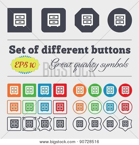 Nightstand  Icon Sign Big Set Of Colorful, Diverse, High-quality Buttons. Vector