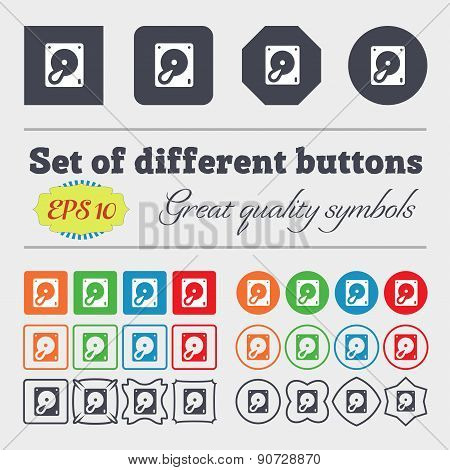 Hard Disk And Database  Icon Sign Big Set Of Colorful, Diverse, High-quality Buttons. Vector