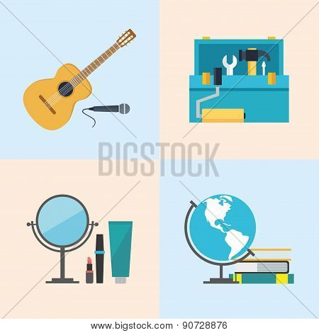 Set icons, flat design, beauty, toolbox, studies, music