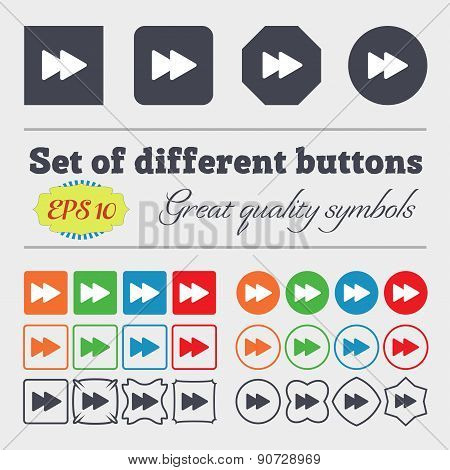Rewind  Icon Sign Big Set Of Colorful, Diverse, High-quality Buttons. Vector