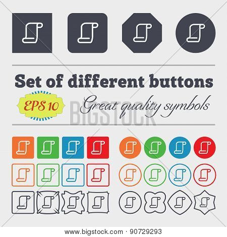 Paper Scroll  Icon Sign Big Set Of Colorful, Diverse, High-quality Buttons. Vector