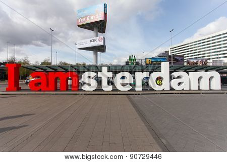 I am Amsterdam sign at the arrival/departure entrance of Schiphol