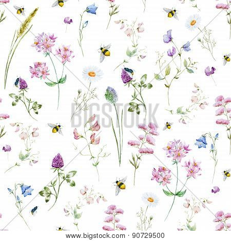 Watercolor wildflower pattern