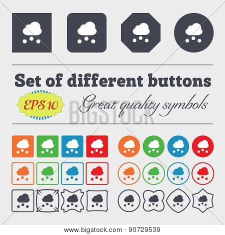 Snowing  Icon Sign Big Set Of Colorful, Diverse, High-quality Buttons. Vector
