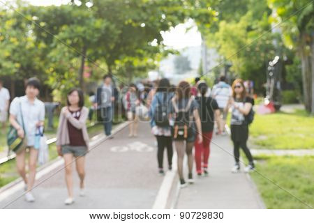 blurred city and people urban scene background
