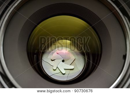 Diaphragm Blades Can Be Seen Through The Glass Camera Lens