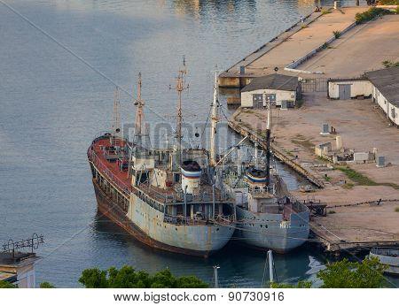 Ukraine, Sevastopol - September 02, 2011: Discarded Rusty Ships In The Harbor Of Sevastopol