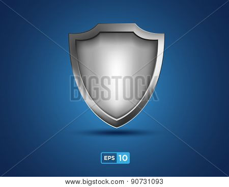 Empty Silver Shield On The Blue Background