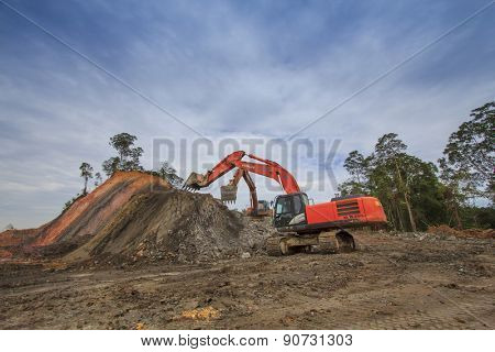 KUCHING, MALAYSIA - MAY 16 2015: Deforestation. Photo of tropical rainforest in Borneo being destroyed to make way for oil palm plantation.