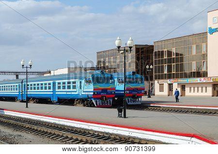 Diesel Trains On The Ways Of Train Station In Mogilev, Belarus