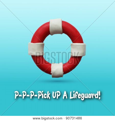 Lifebuoy on blue background