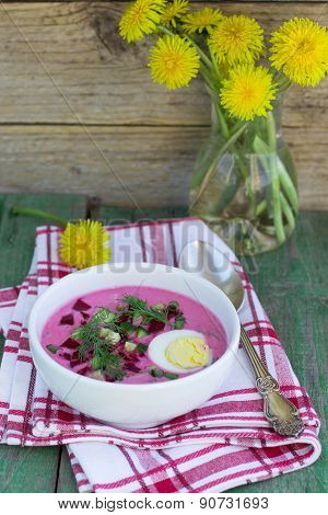 Beetroot soup. Holodnik. Cold soup made from beets, cucumbers, eggs, herbs and yoghurt. Traditional