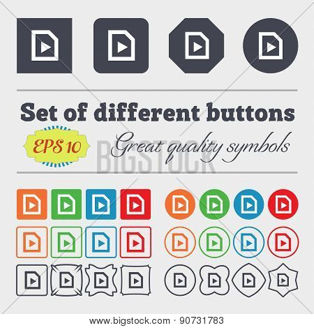Play  Icon Sign Big Set Of Colorful, Diverse, High-quality Buttons. Vector