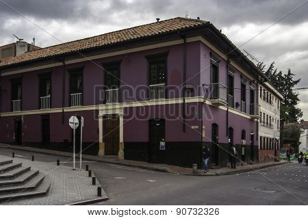 Street of La Candelaria district Bogota Colombia