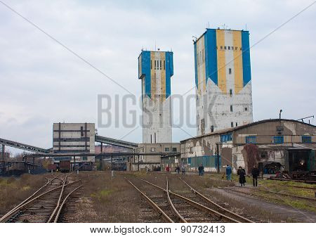Donetsk, Ukraine - November 06, 2012: Head Frame Coal And Industrial Zone