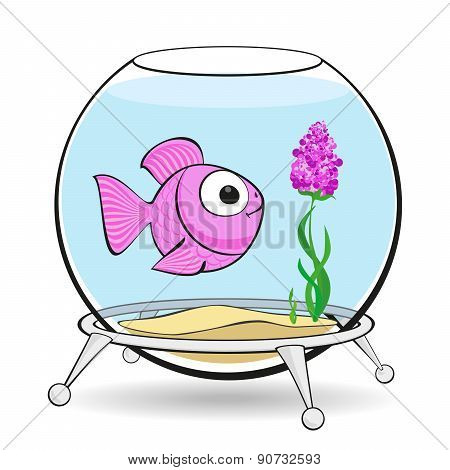Pink Fish In Fishbowl