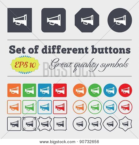 Megaphone Soon, Loudspeaker  Icon Sign Big Set Of Colorful, Diverse, High-quality Buttons. Vector