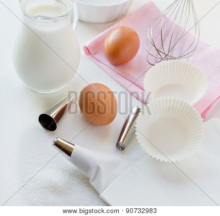 Utensils And Ingredients For Decoration Of Cake