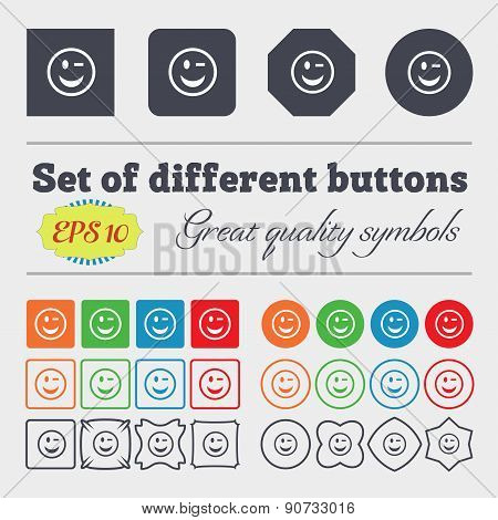 Winking Face  Icon Sign Big Set Of Colorful, Diverse, High-quality Buttons. Vector
