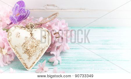 Background With Flowers And Decorative Heart