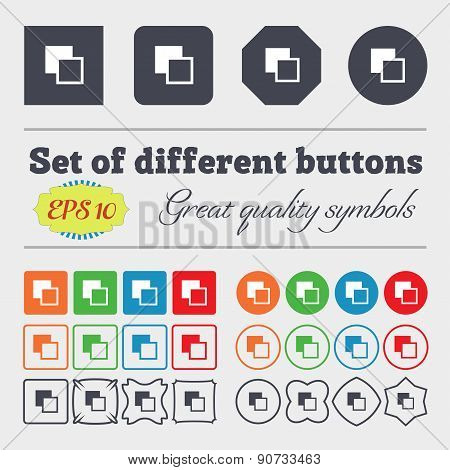Active Color Toolbar  Icon Sign Big Set Of Colorful, Diverse, High-quality Buttons. Vector