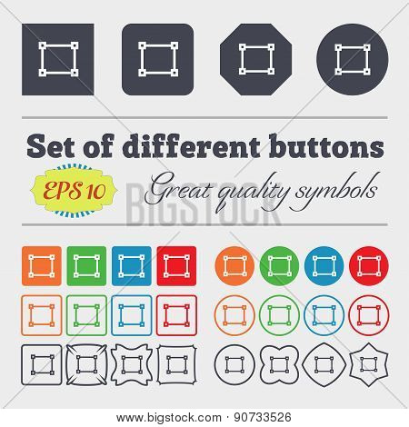Crops And Registration Marks  Icon Sign Big Set Of Colorful, Diverse, High-quality Buttons. Vector
