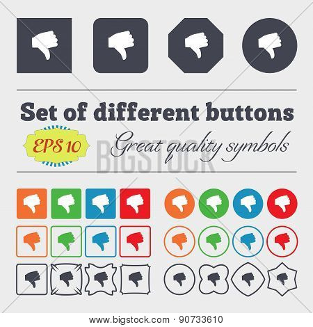 Dislike, Thumb Down  Icon Sign Big Set Of Colorful, Diverse, High-quality Buttons. Vector