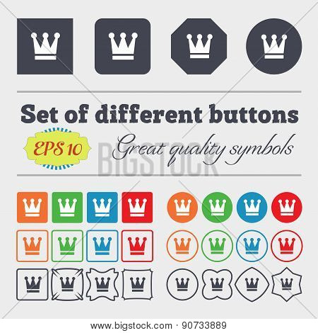 King, Crown  Icon Sign Big Set Of Colorful, Diverse, High-quality Buttons. Vector