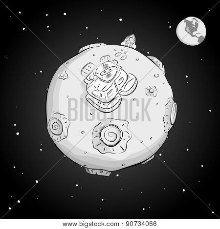 Astronaut On The Moon Monochrome