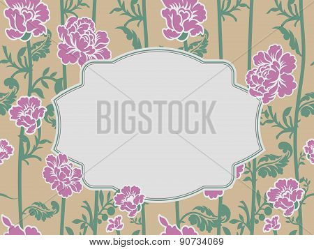 Frame rose Vintage background. Old flowers pattern