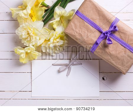 Gift Box, Flowers And Empty Tag