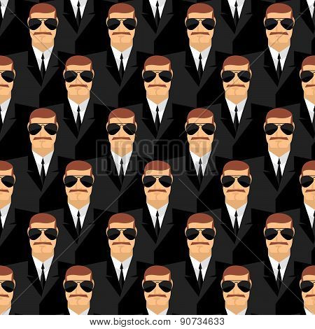 Bodyguard. Seamless pattern of men in glasses. Secret agents. Security service. Vector background of