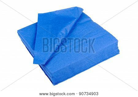 Blue Paper Napkins Isolated On White Background