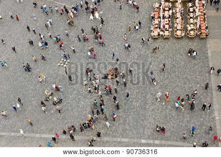People On The Old Town Square In Prague