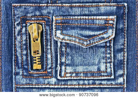 Denim Fabric With Pocket And Zipper
