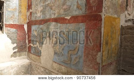 Ancient Civilization Pompeii wall painting mural in Italy.