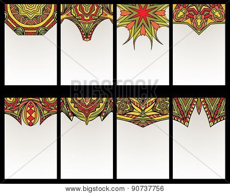 Set Of 8 Cards With Tribal Ornaments