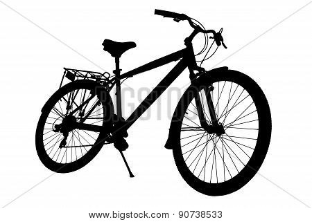 Silhouette Bike Isolated On A White Background.