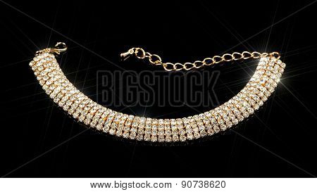Gold Diamond Bracelet On Black Background