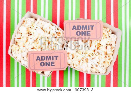 Popcorn On Movie Tickets Desk Top View
