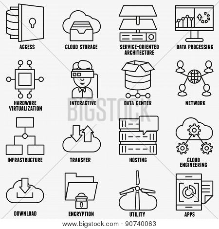 Set Of Vector Linear Cloud Computing Icons
