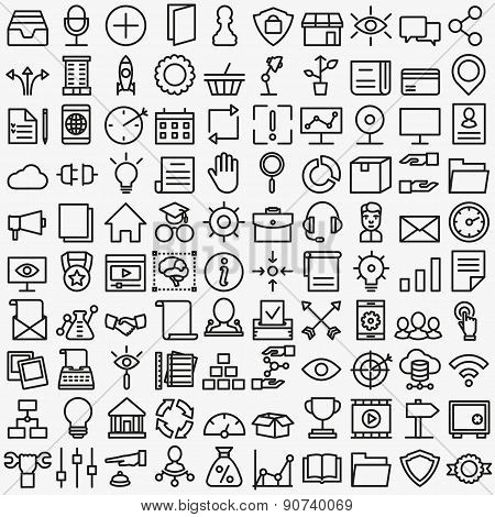 Set Of Vector Linear Media Service Icons. 100 Icons For Design