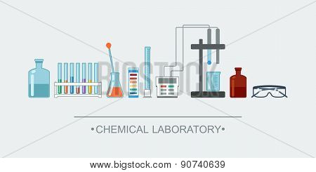 Banner Chemical Objects. Chemical Laboratory Glassware. Vector