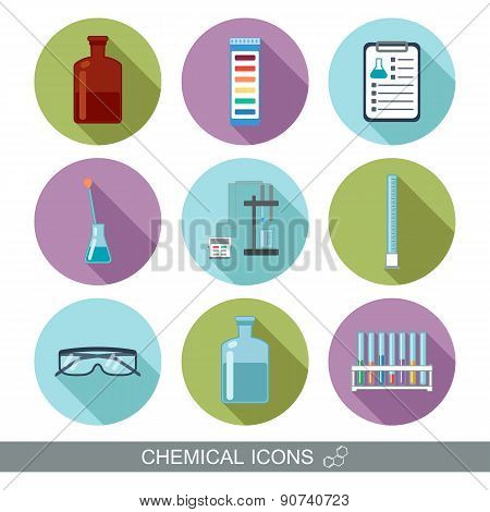Chemical Icons. Flat Design With Shadows. Vector