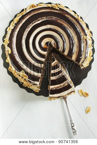 Almond Chocolate Crunch Cake. Top View