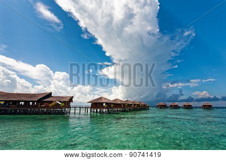 JUNE 27, 2008 - SABAH, MALAYSIA: Wooden chalet resorts cater for tourists visiting Mabul Island in Sabah. This island is situated next to Sipadan, a world famous scuba diving site.